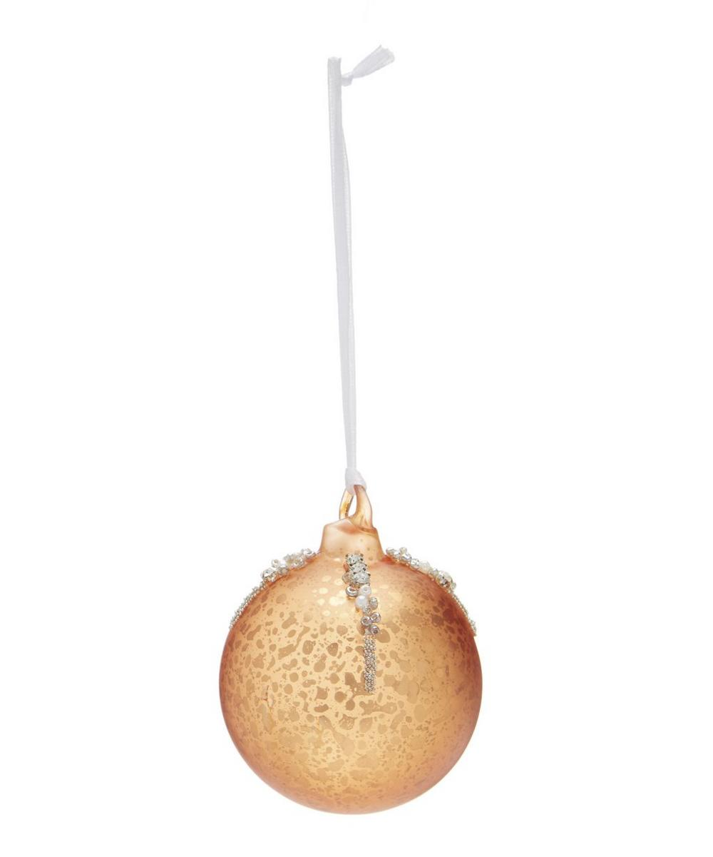 Crackle Copper-Tone Ball Bauble