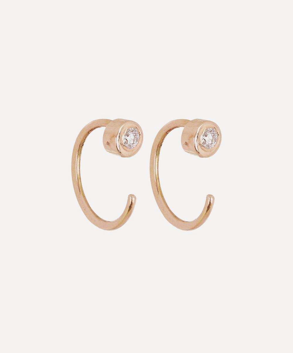 White Diamond Gold Hug Hoop Earrings