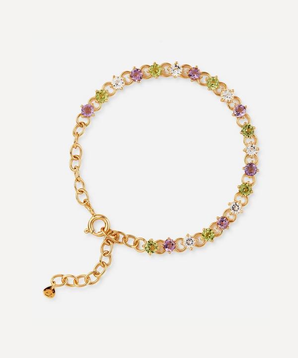 Dinny Hall - Gold Plated Vermeil Silver Suffragette Gem Drop Line Bracelet