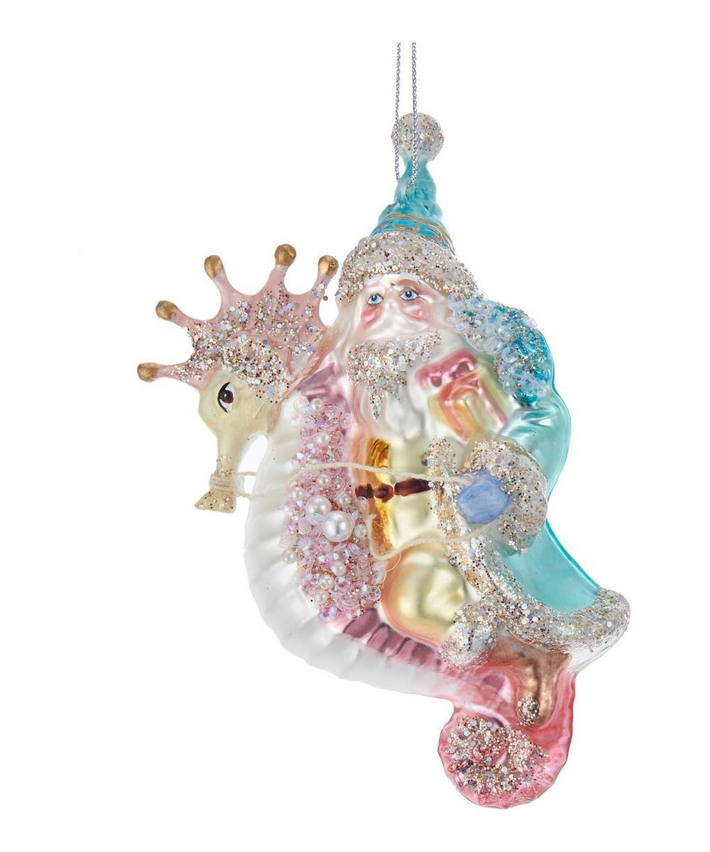Glass Glittery Santa with Seahorse Decoration