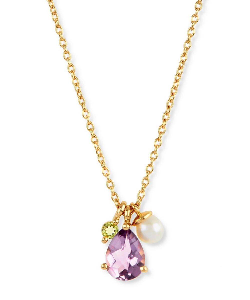 Gold Vermeil Gem Drop Cluster Pendant Necklace