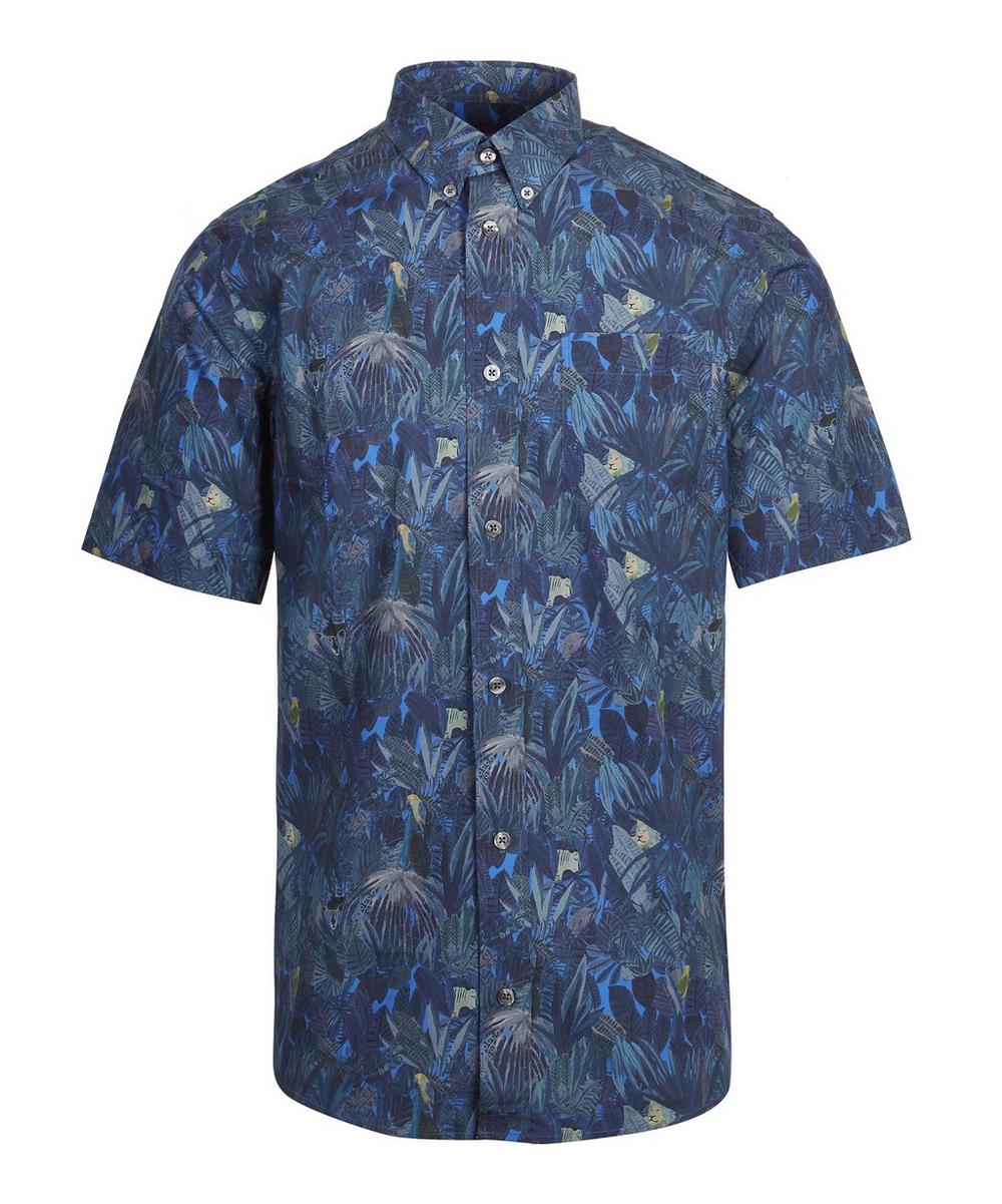 Jungle Tapestry Poplin Short Sleeve Mens Shirt