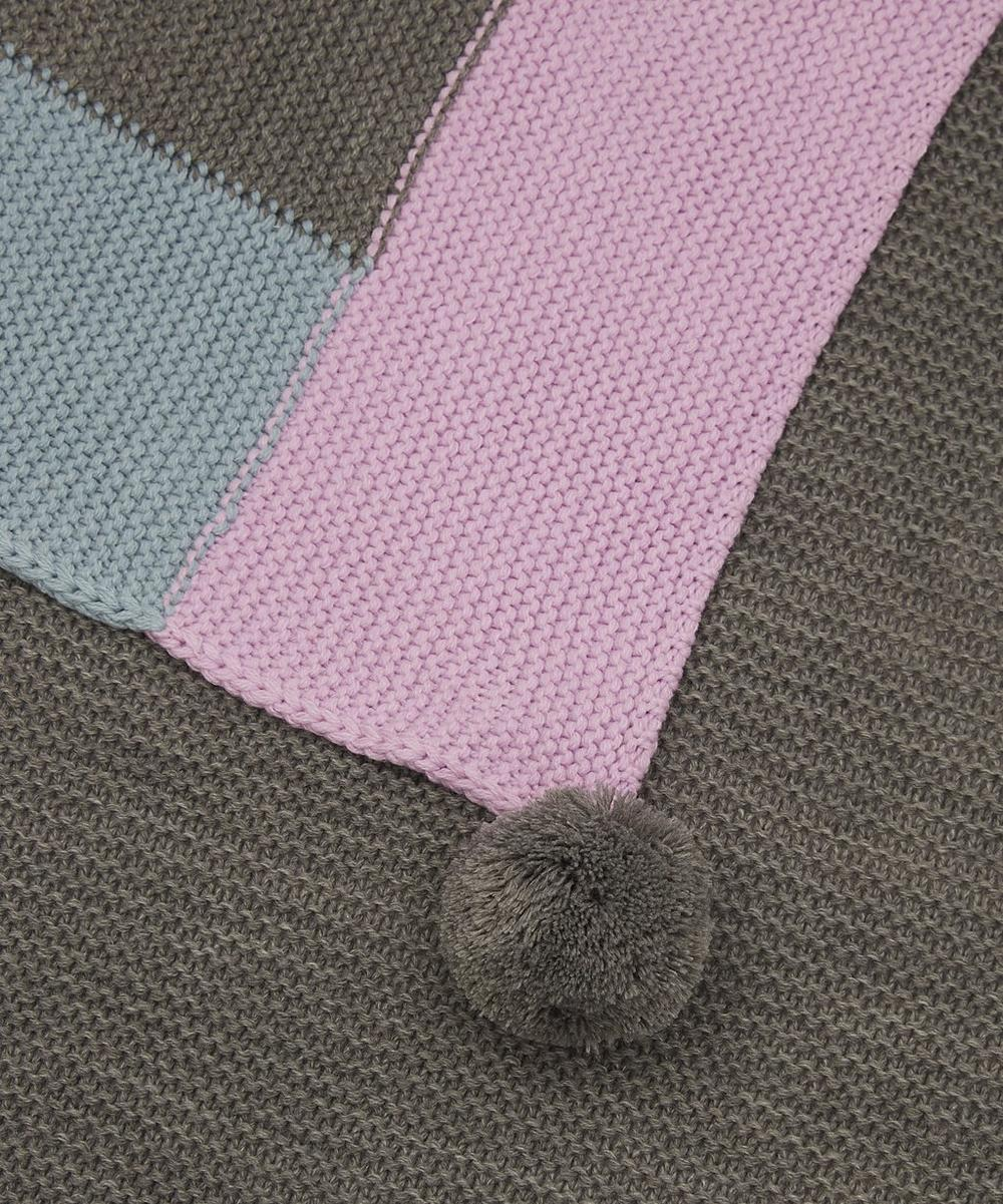 Grey Borders Pom-Pom Throw