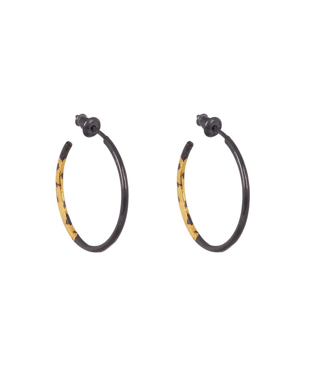 ACANTHUS Oxidised Silver Small Sickle Hoop Earrings, Gold