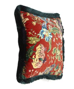 Medium Velvet Majorelle Fringed Cushion