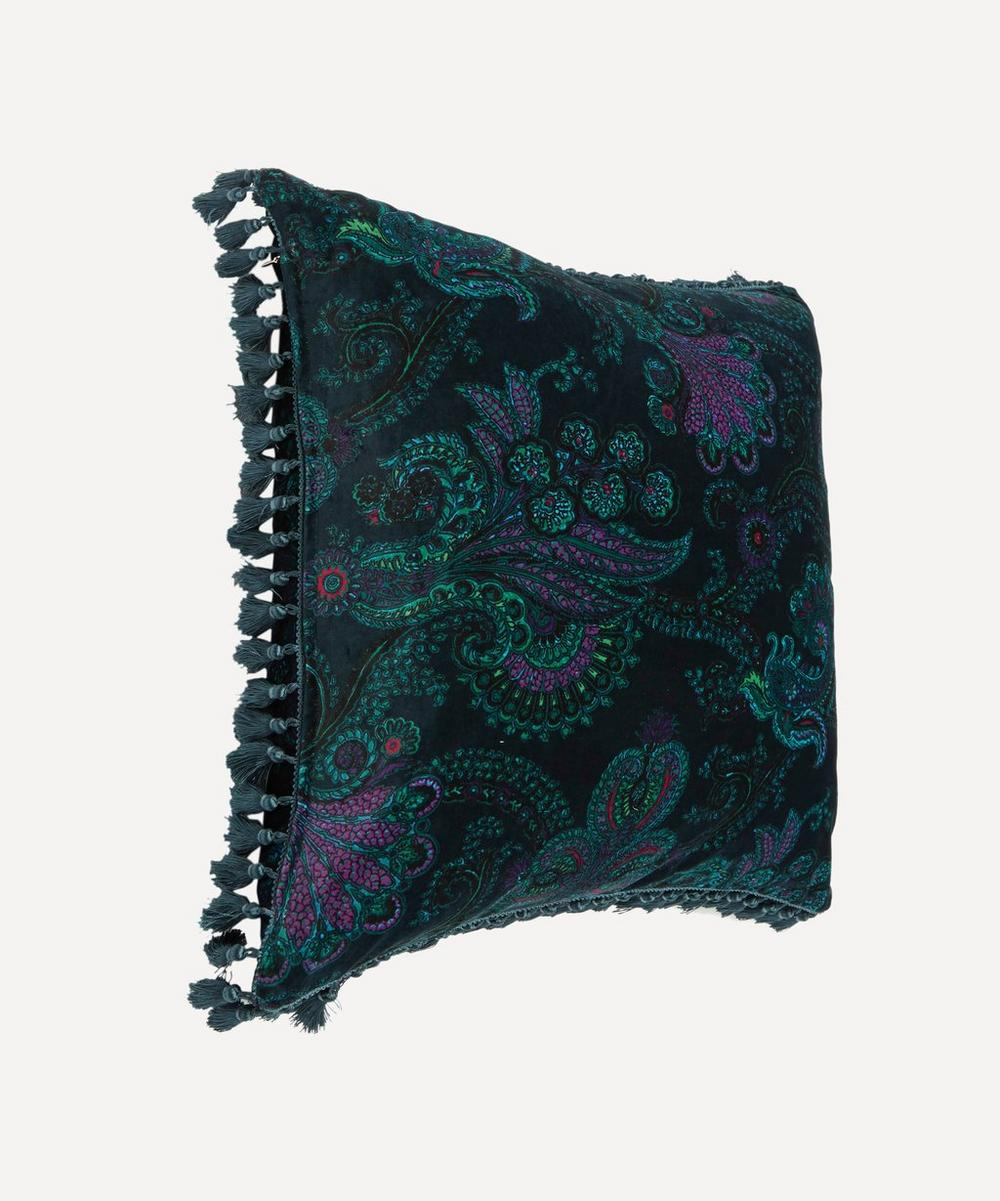 Large Velvet Palme Cashmir Tasselled Cushion