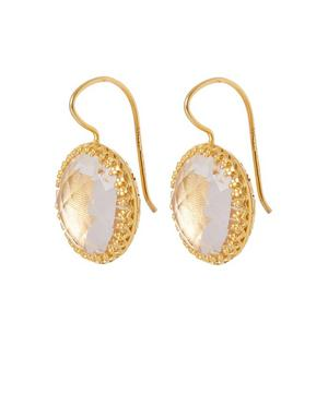 Gold-Washed White Quartz Olivia Button Earrings