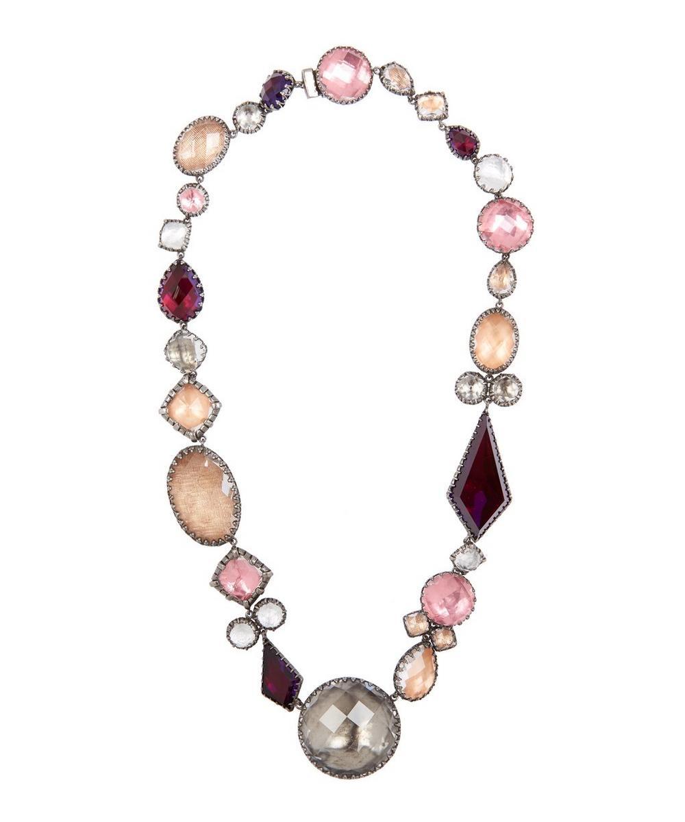 Rhodium-Washed Silver Sadie Medallion Rivière White Quartz Necklace