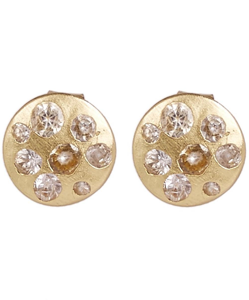 POLLY WALES Gold White Sapphire Disc Stud Earrings