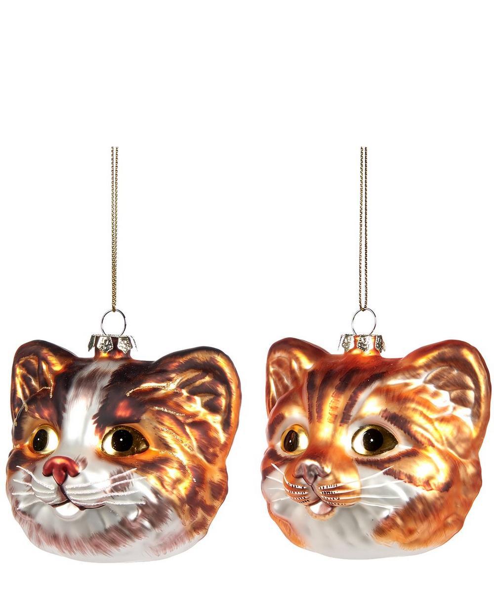 Set of 2 Cat Head Decorations