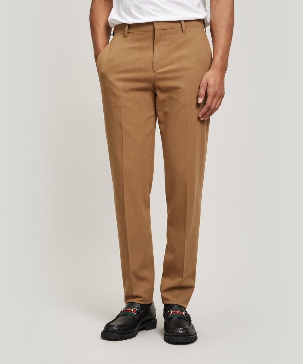 Flat Front Wool-Blend Trousers