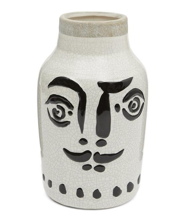 Large Ceramic Vase with Face