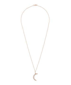 Rose Gold White Diamond Medium Luna Necklace