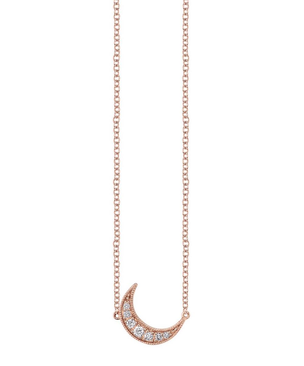 Rose Gold Mini White Diamond Crescent Moon Necklace