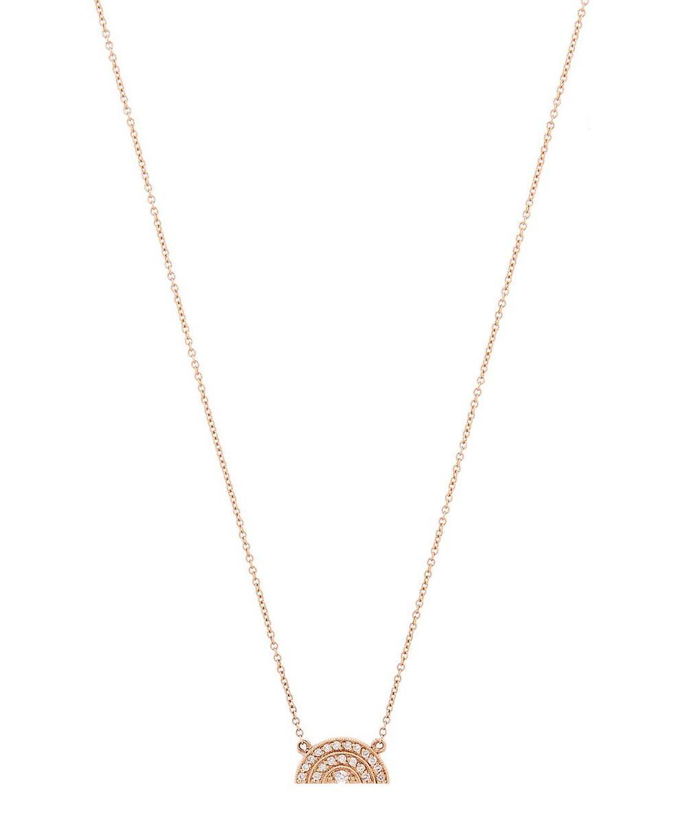 Rose Gold White Diamond Half Moon Rainbow Necklace