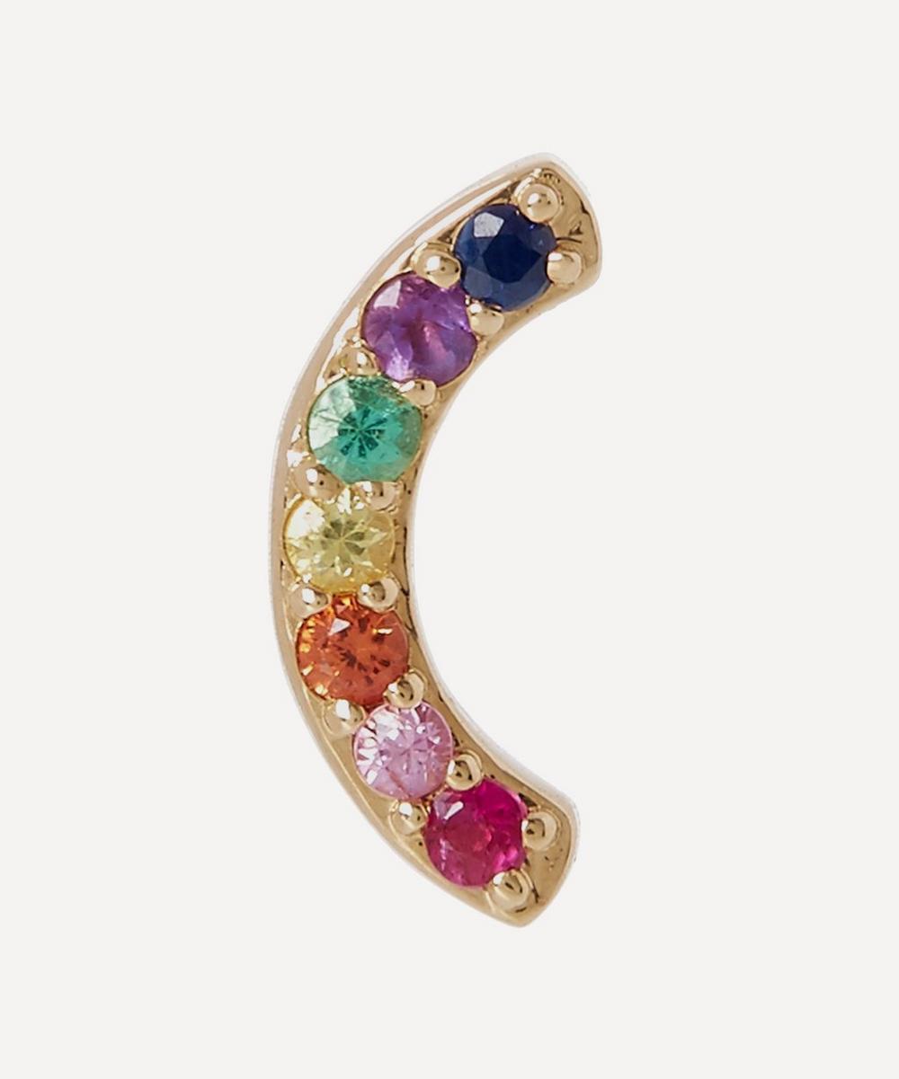 Gold Multi-Stone Rainbow Stud Earring