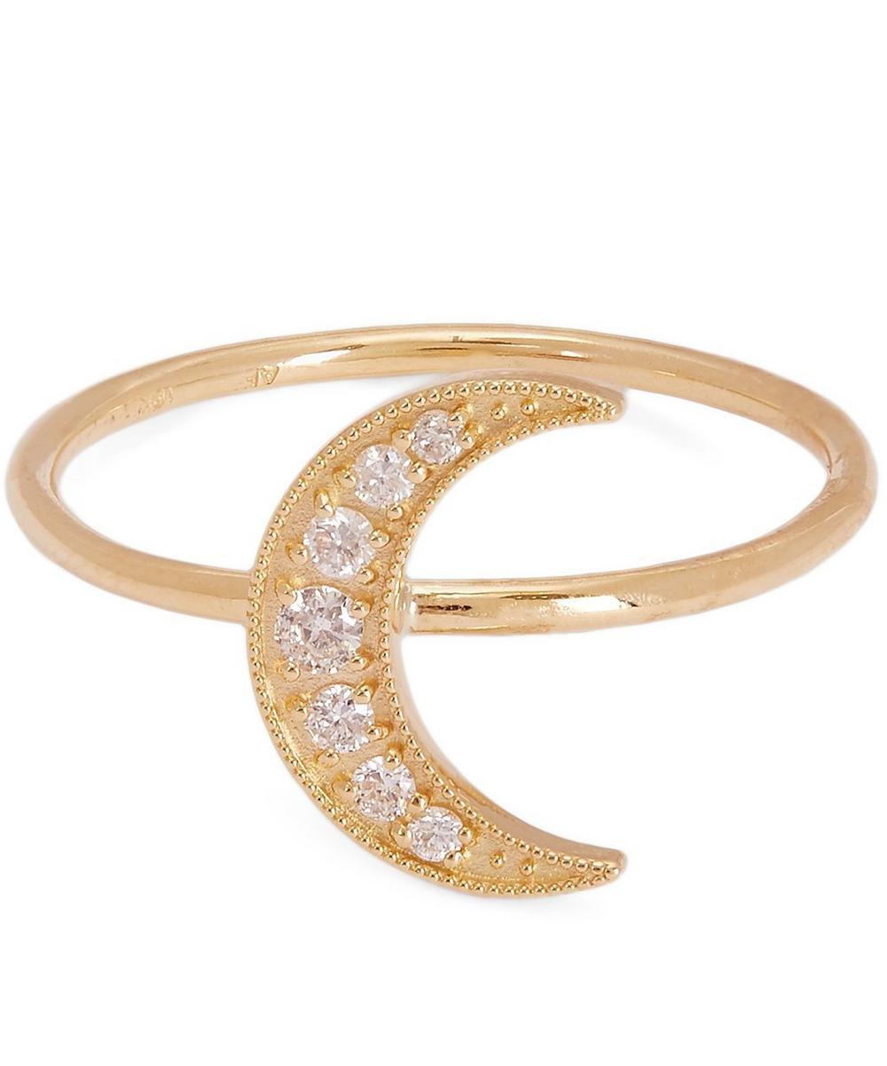 Gold Mini Crescent Moon White Diamond Paving