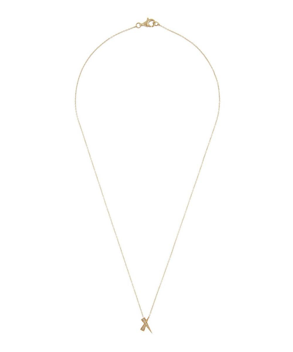 Gold Kiss Champagne Diamond Pavé Pendant Necklace