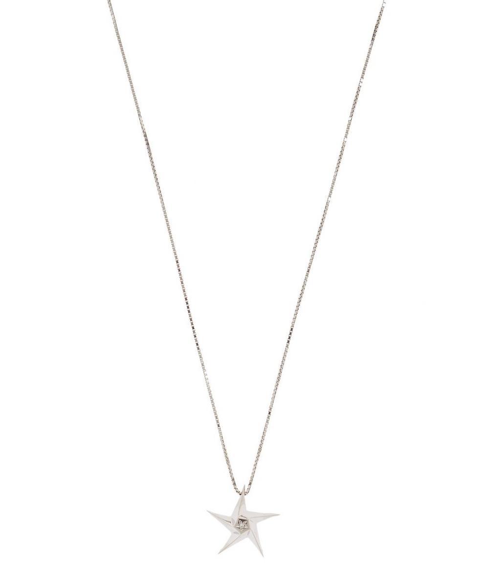 White Gold Little Star Diamond Pendant Necklace