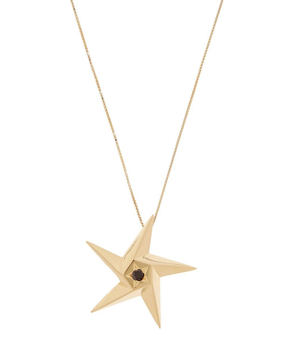 DAOU GOLD DAY AND NIGHT STAR BLACK DIAMOND PENDANT NECKLACE