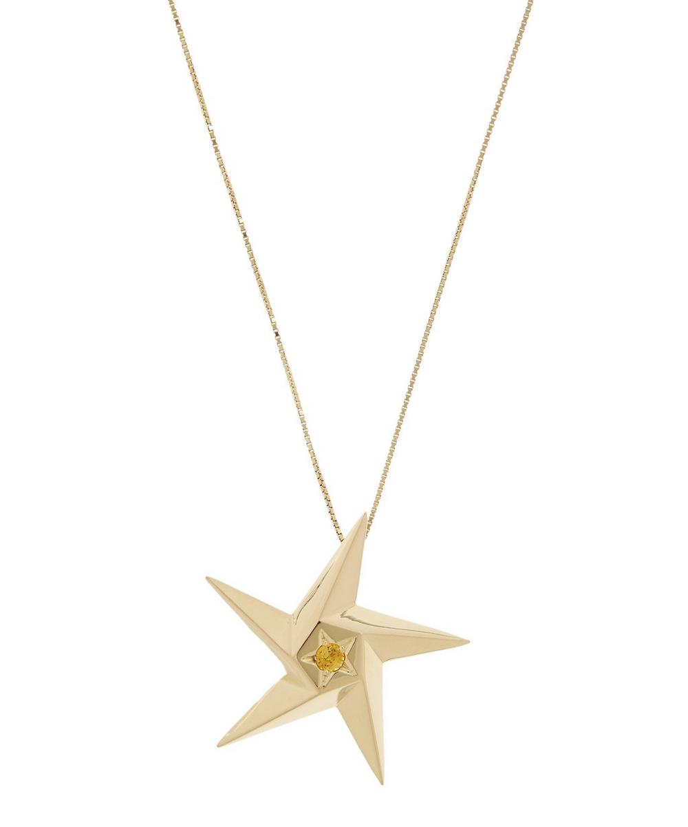 Gold Sun Supernova Large Star and Yellow Sapphire Pendant Necklace