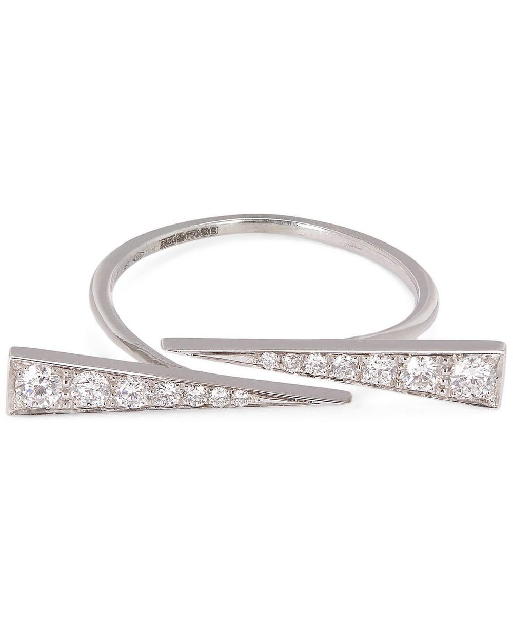 DAOU WHITE GOLD AND WHITE DIAMOND TWIN SPARK RING