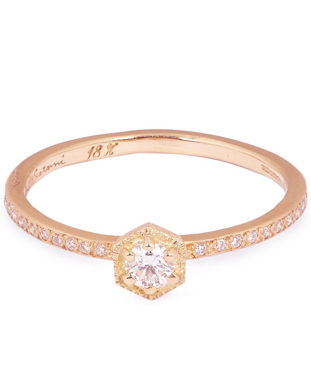 Rose Gold White Diamond Solitaire Eternity Ring
