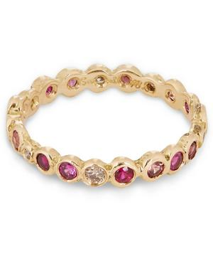 Gold Multi Red Circle Eternity Ring