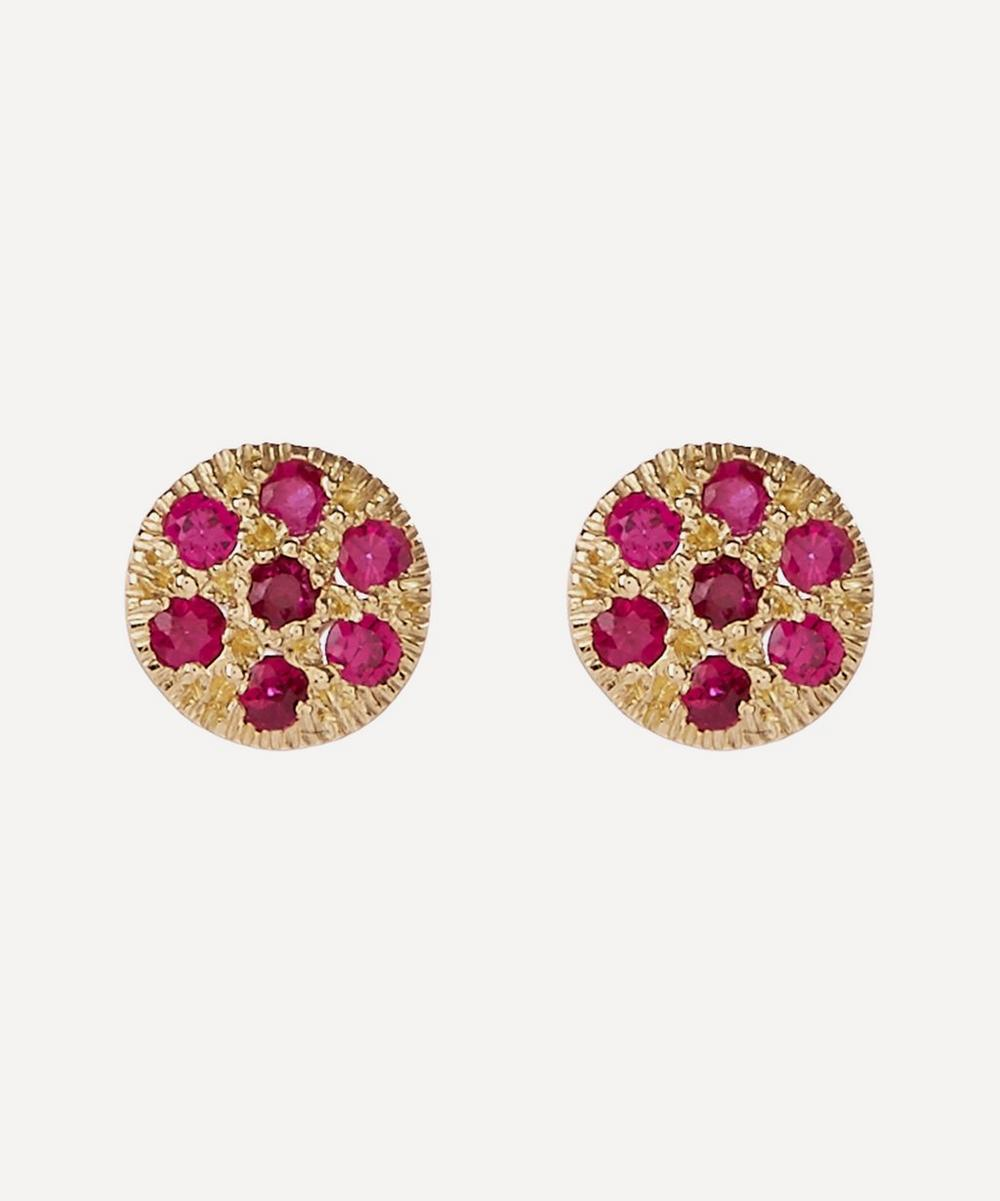 Ruby Disc Stud Earrings