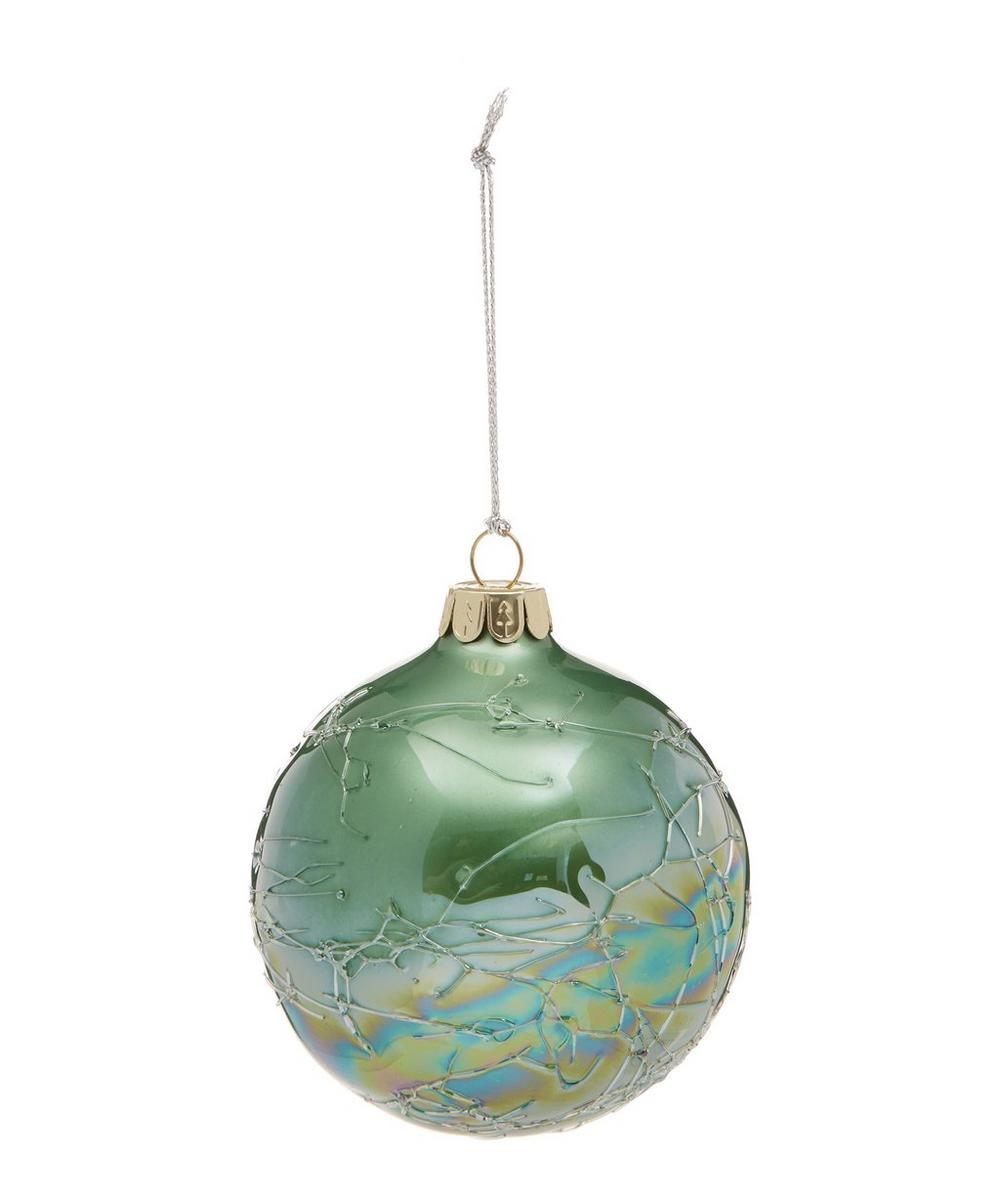Green Crackle Bauble