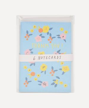 Pink and Yellow Flowers Thank You Notecard Set