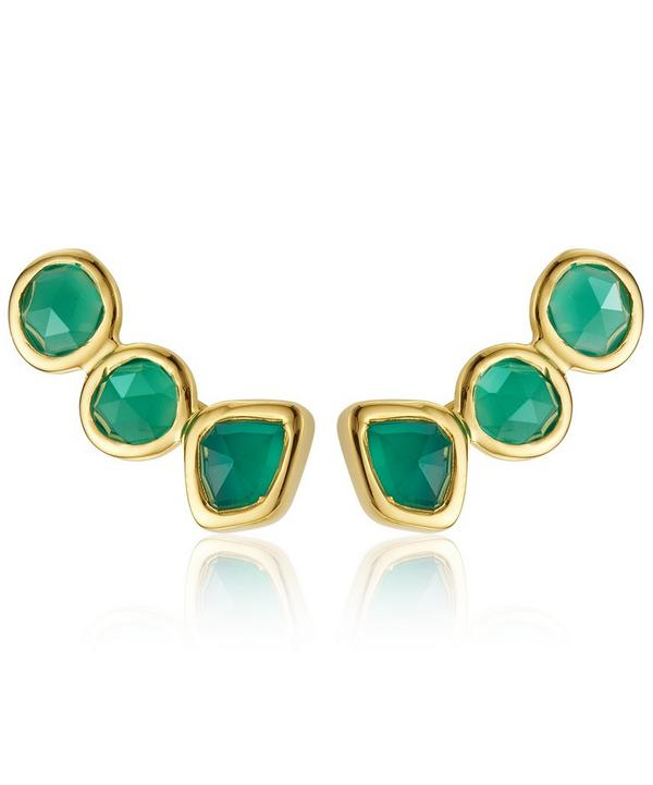 Gold Vermeil Siren Green Onyx Climber Earrings