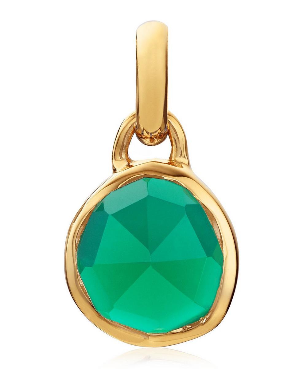 Gold Vermeil Siren Mini Green Onyx Bezel Pendant