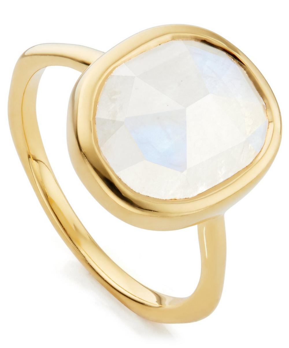 GOLD VERMEIL MOONSTONE SIREN MEDIUM STACKING RING