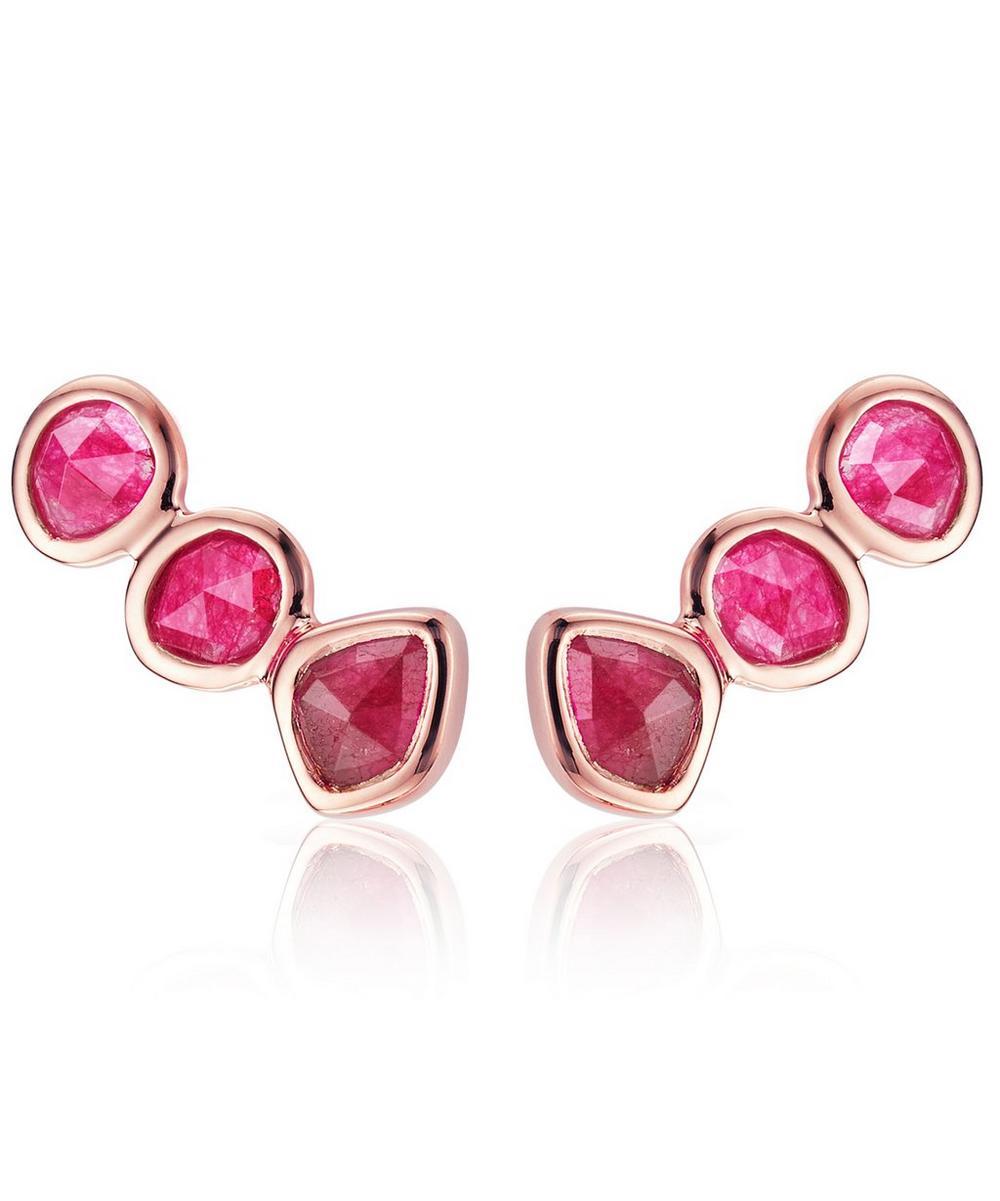 Siren 18Ct Rose-Gold Vermeil And Pink Quartz Climber Earrings