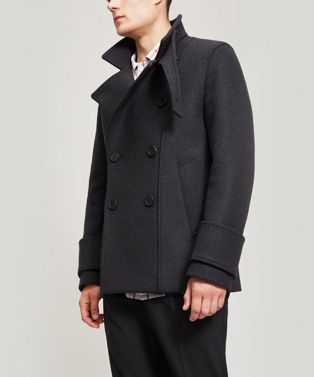 WOOYOUNGMI Wool-Blend High Neck Coat in Black