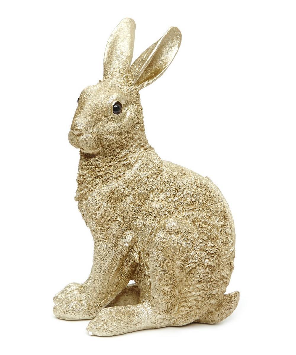 Gold Tone Rabbit Coin Bank