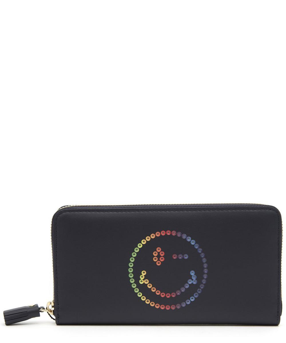 ANYA HINDMARCH LARGE RAINBOW WINK CIRCUS LEATHER ZIP-AROUND WALLET