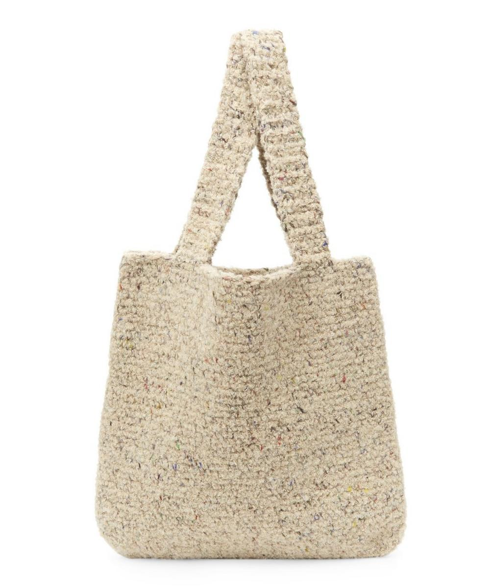 KARAKORAM KNITTED FLECKED WOOL-BLEND TOTE BAG