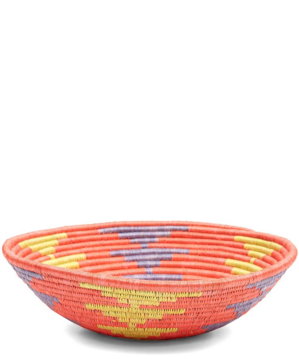 Large Coral Sun Arrowed Bowl