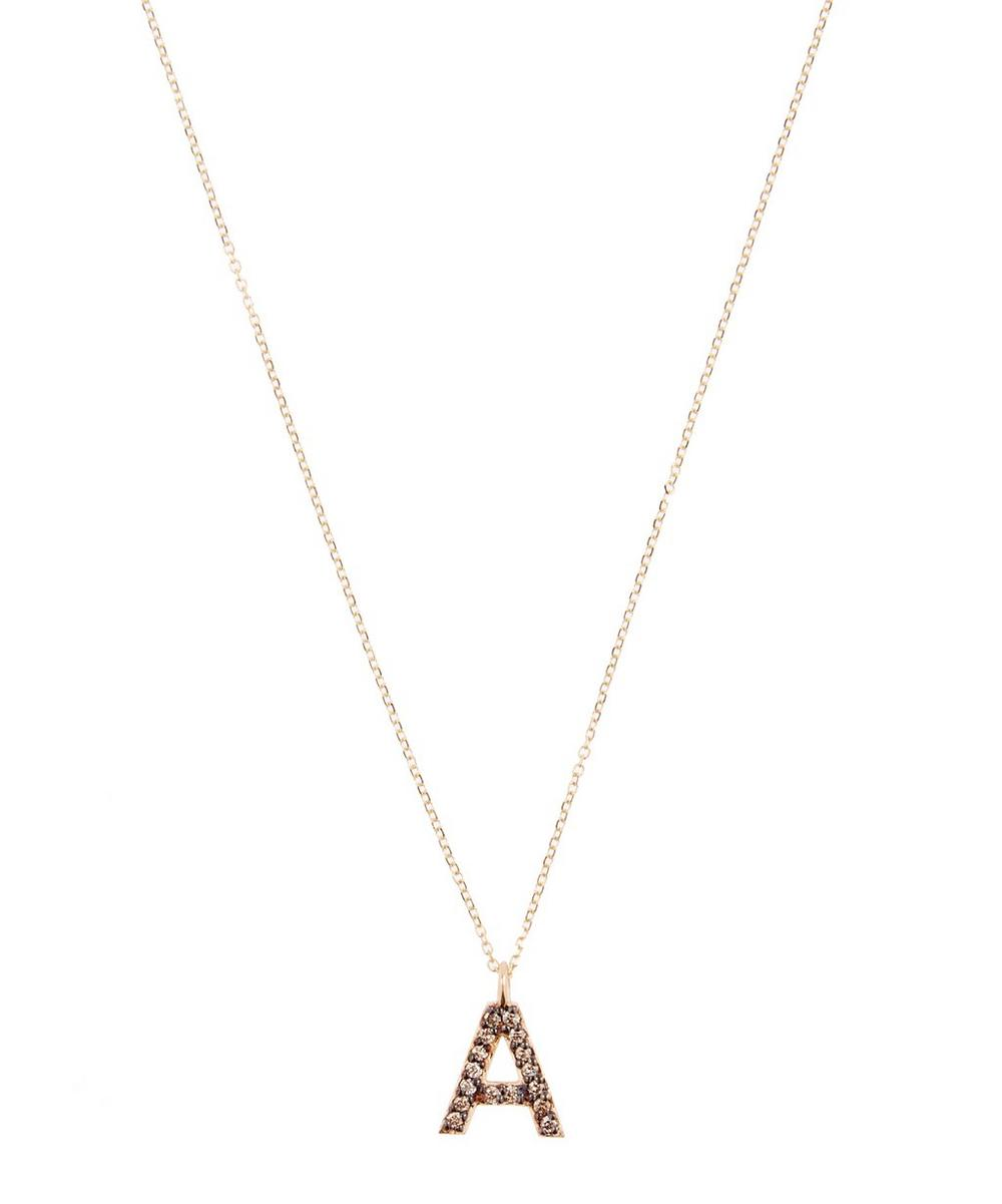 Yellow Gold Champagne Diamond Letter A Necklace