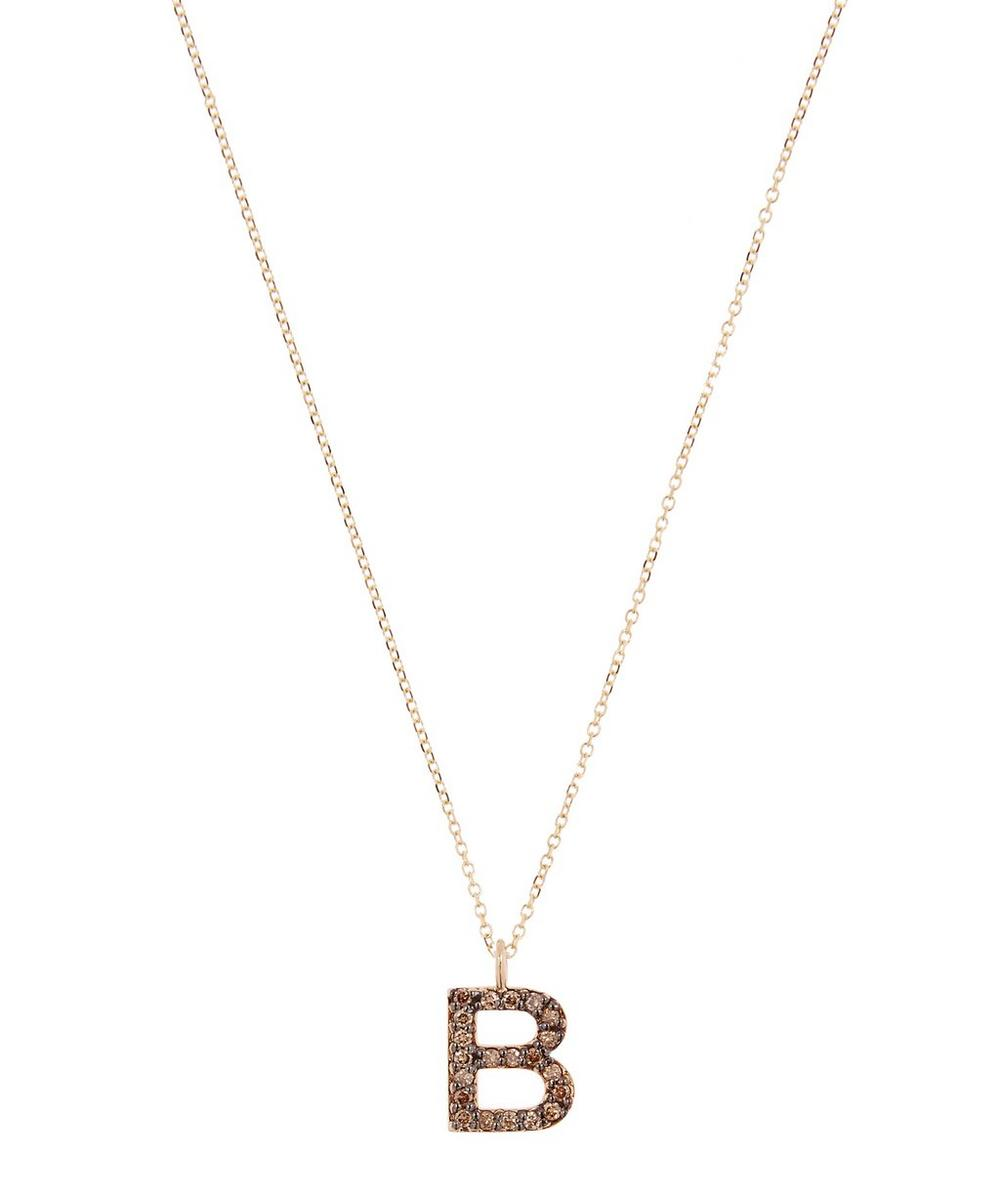 Yellow Gold Champagne Diamond Letter B Necklace