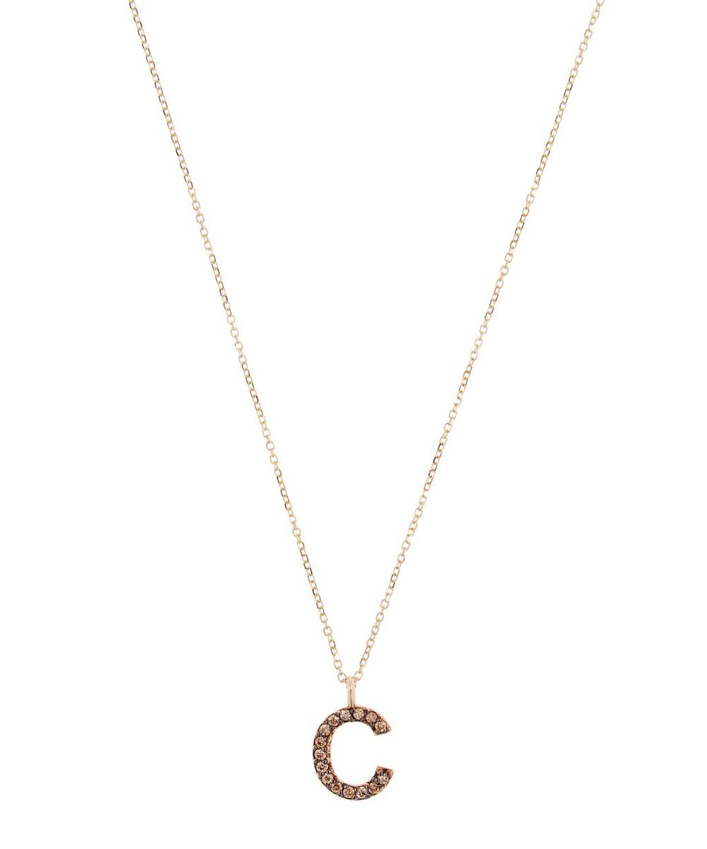 KC DESIGNS YELLOW GOLD CHAMPAGNE DIAMOND LETTER C NECKLACE