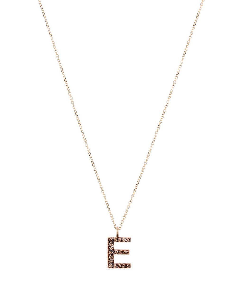 KC DESIGNS YELLOW GOLD CHAMPAGNE DIAMOND LETTER E NECKLACE