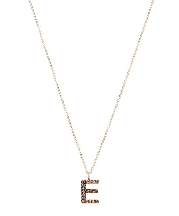 Yellow Gold Champagne Diamond Letter E Necklace