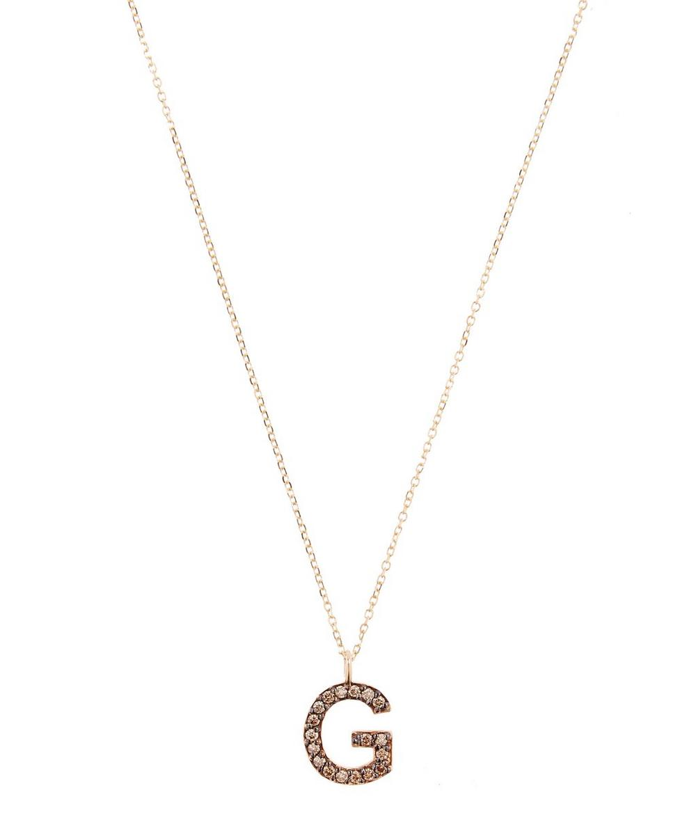 KC DESIGNS YELLOW GOLD CHAMPAGNE DIAMOND LETTER G NECKLACE