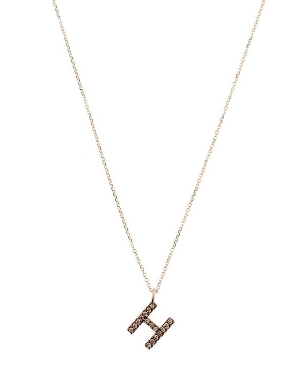 Yellow Gold Champagne Diamond Letter H Necklace