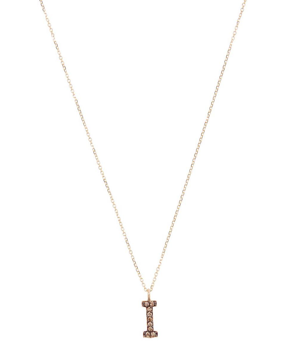 KC DESIGNS YELLOW GOLD CHAMPAGNE DIAMOND LETTER I NECKLACE