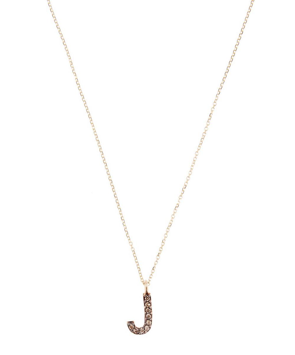 KC DESIGNS YELLOW GOLD CHAMPAGNE DIAMOND LETTER J NECKLACE