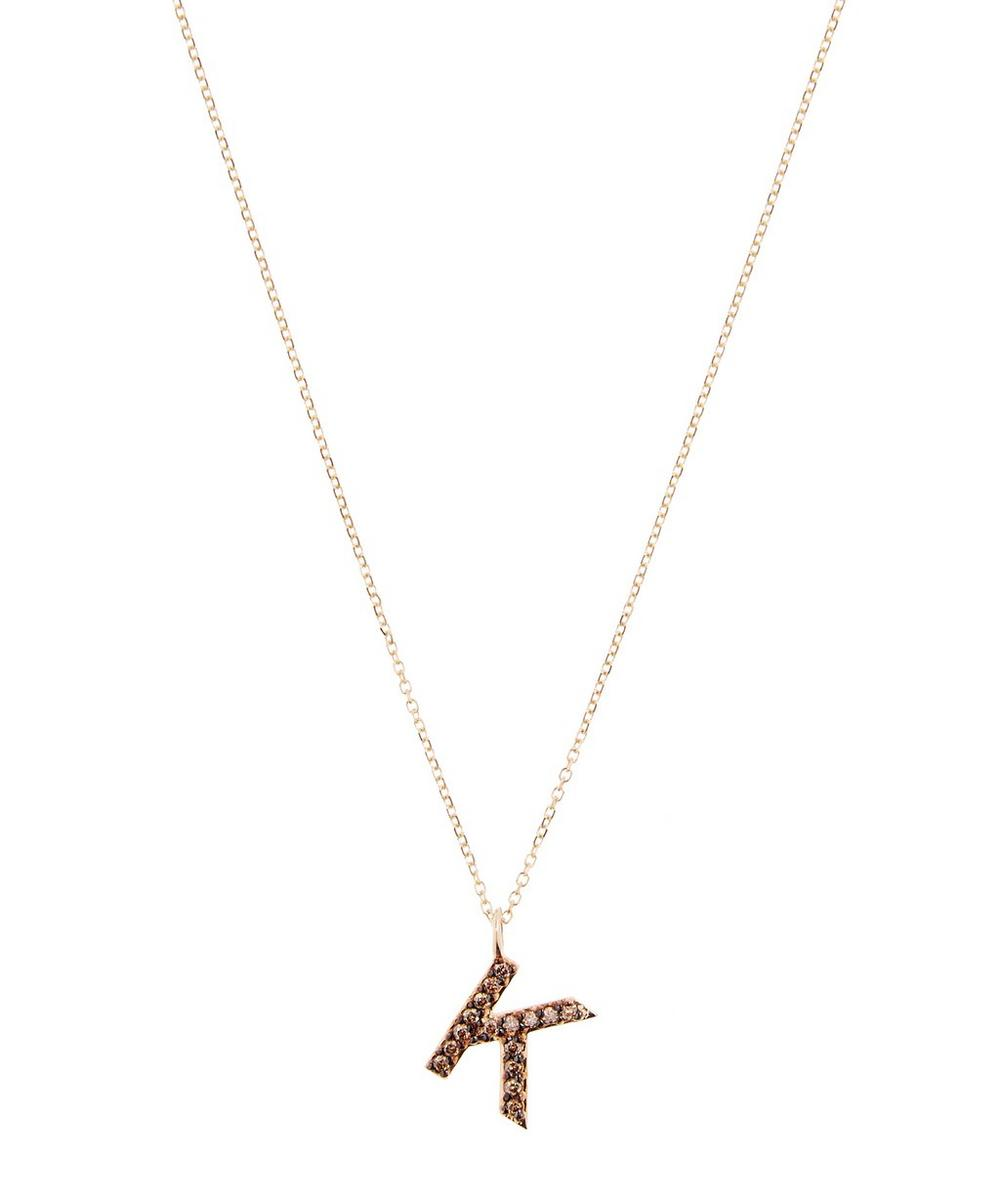 KC DESIGNS YELLOW GOLD CHAMPAGNE DIAMOND LETTER K NECKLACE